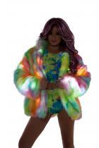 ラスベガスの一流ダンサー風★レインボーシャーベット柄ライトアップファーコート単品【JValentine/Jバレンタイン】