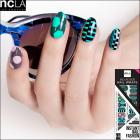 【ncLA/エヌシーエルエー】ネイルシール/ネイルラップ/爪に貼るだけ/ネイルアート(幾何学柄/グリーン×ピンク)