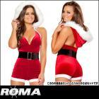 レッドサンタ/サンタコスチューム/激カワサンタガールホルタートップロンパーとベルトの2点セット【ローマコスチューム/ROMA costume】