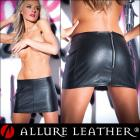 合皮スカート/フェイクレザースカート/上質な合皮素材のバックジップマイクロミニスカート【アルーアレザー/ALLURE LEATHER】
