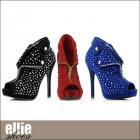アンクルブーツ/ブーティ/豪華ラインストーンオープントゥアンクルブーツ(全3色)(ヒール高さ5インチ)【エリーシューズ/Ellie Shoes】