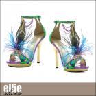 アンクルサンダル/孔雀の羽付きアンクルストラップサンダル(ヒール高さ約5インチ)【エリーシューズ/Ellie Shoes】