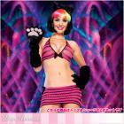 ジグザグビキニトップ/ミニスカート/ボトム3点セット/ブラックリボン/ピンク【レッグアベニューレイブウェア/Leg Avenue Rave Wear】