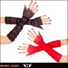メッシュグローブ/手袋/コスチューム/上質やわらかメッシュ素材フィンガーレスロンググローブ〔全2色〕【ミュージックレッグ/Music Legs】