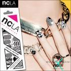 ネイルシール/ネイルラップ/爪に貼るだけで簡単に本格的ネイルアートが楽しめるネイルシール(白黒)【ncLA/エヌシーエルエー】