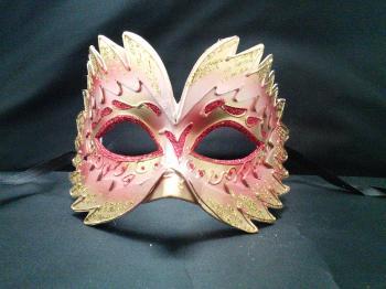 まるで鳥の羽☆ヴェネチアンフェザーマスクE(単品)【ヴェネチアンマスク】ピンク/ゴールド